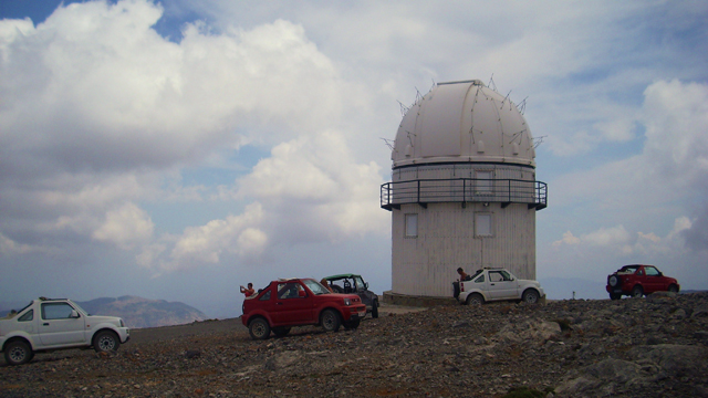 with the jeeps at the observatorium Skinakas